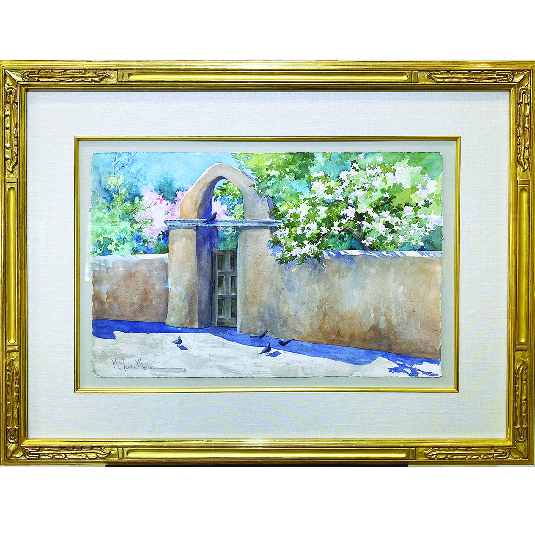 Watercolor painting in gold custom frame
