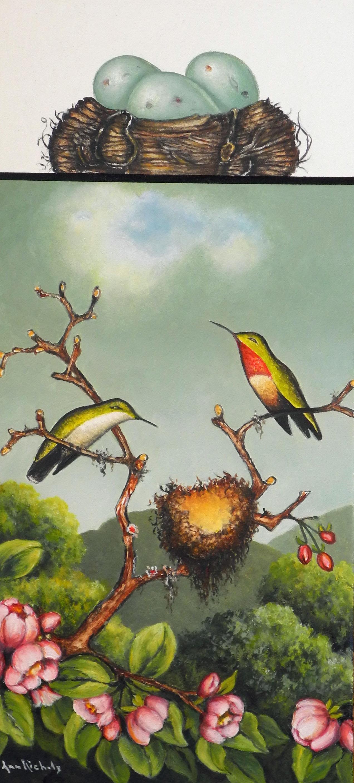 Hummingbirds with Appleblossoms