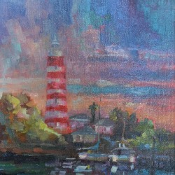 Hope Town Lighthouse painting by Karen Hewitt Hagan