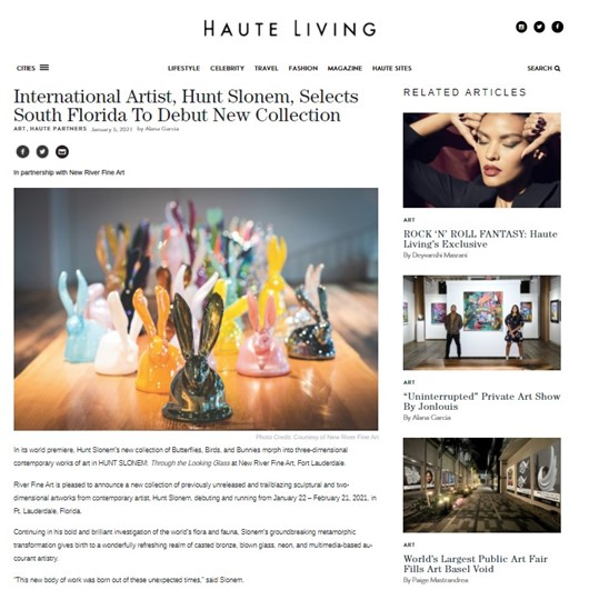 Hunt Slonem and New River Fine Art in Haute Living Magazine