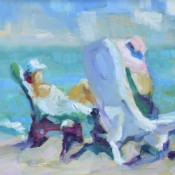 Beach oil painting by Karen Hewitt Hagan