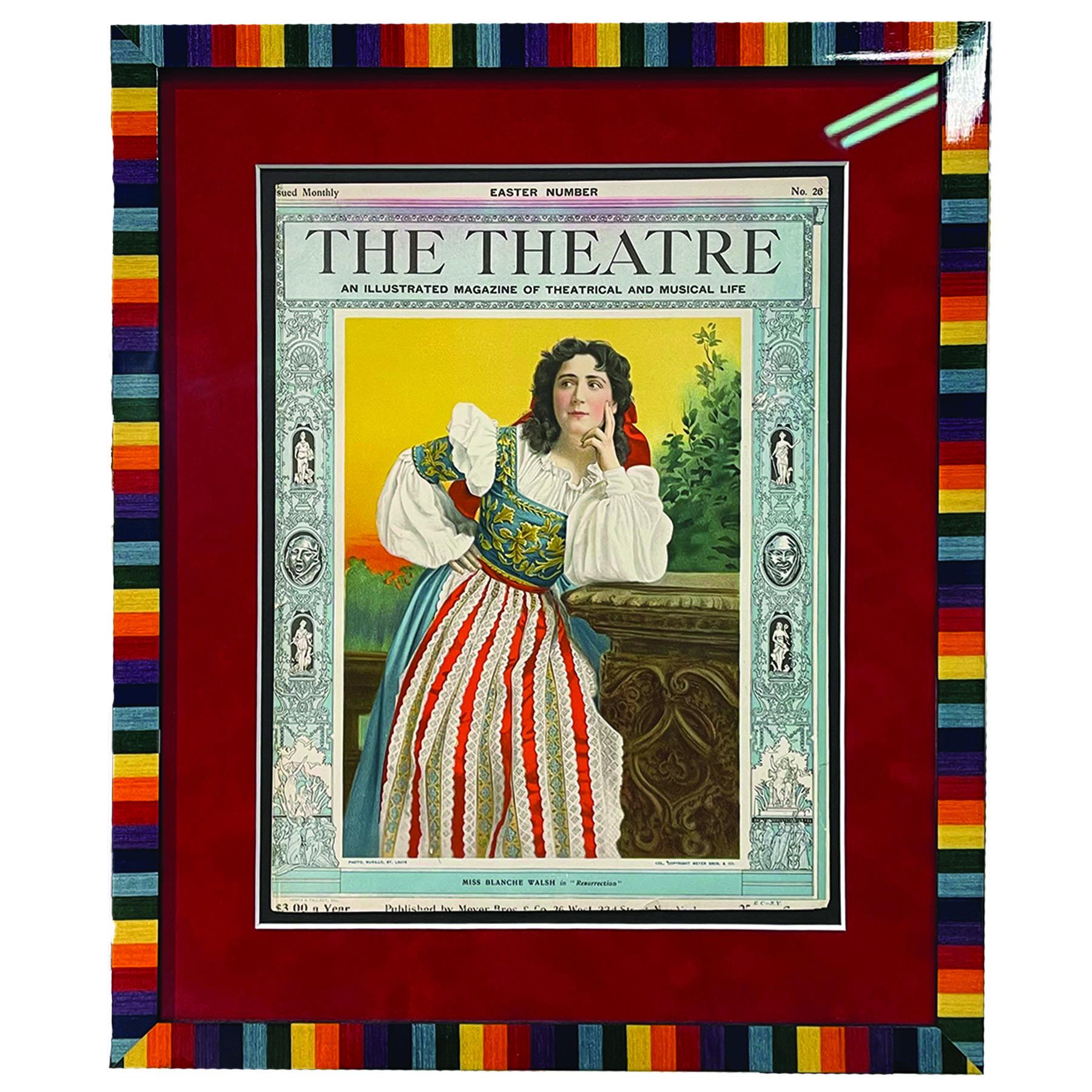 """The Theatre"" print in rainbow custom frame"