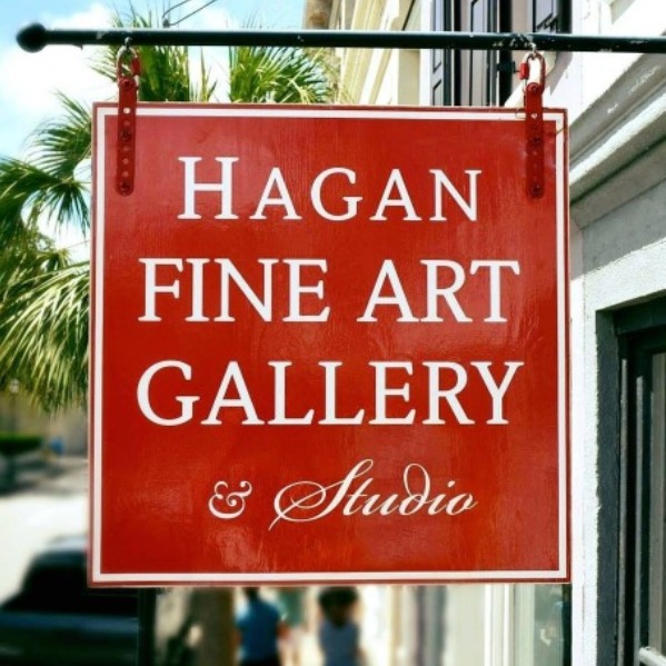 An image of the Hagan Fine Art Galleries store sign