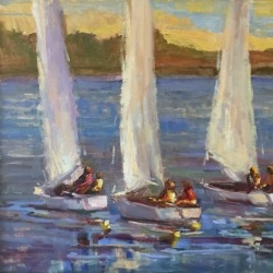 Boat oil painting by Karen Hewitt Hagan