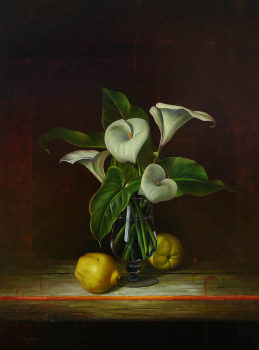 Still Life With White Lilies In Glass And Quince - DP -EB