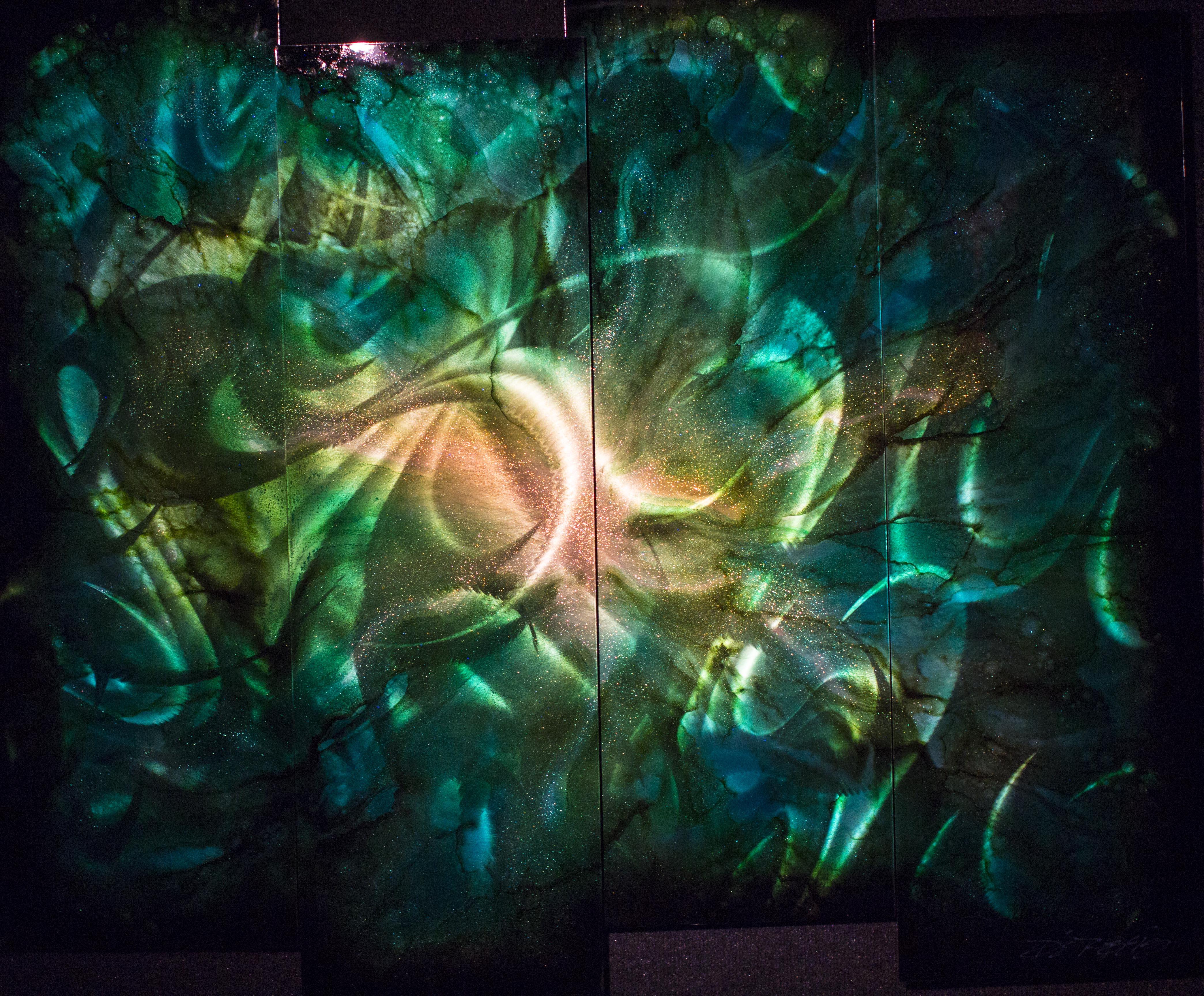 Green Abstract 4 Panel