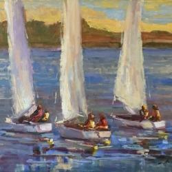 Boat oil painting by Karen Hewitt Hagan