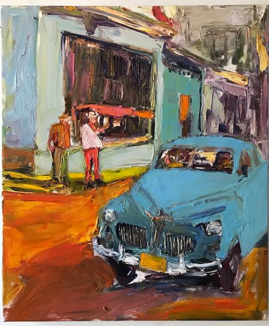 La Vida Cuba, Blue Vintage Car on Street