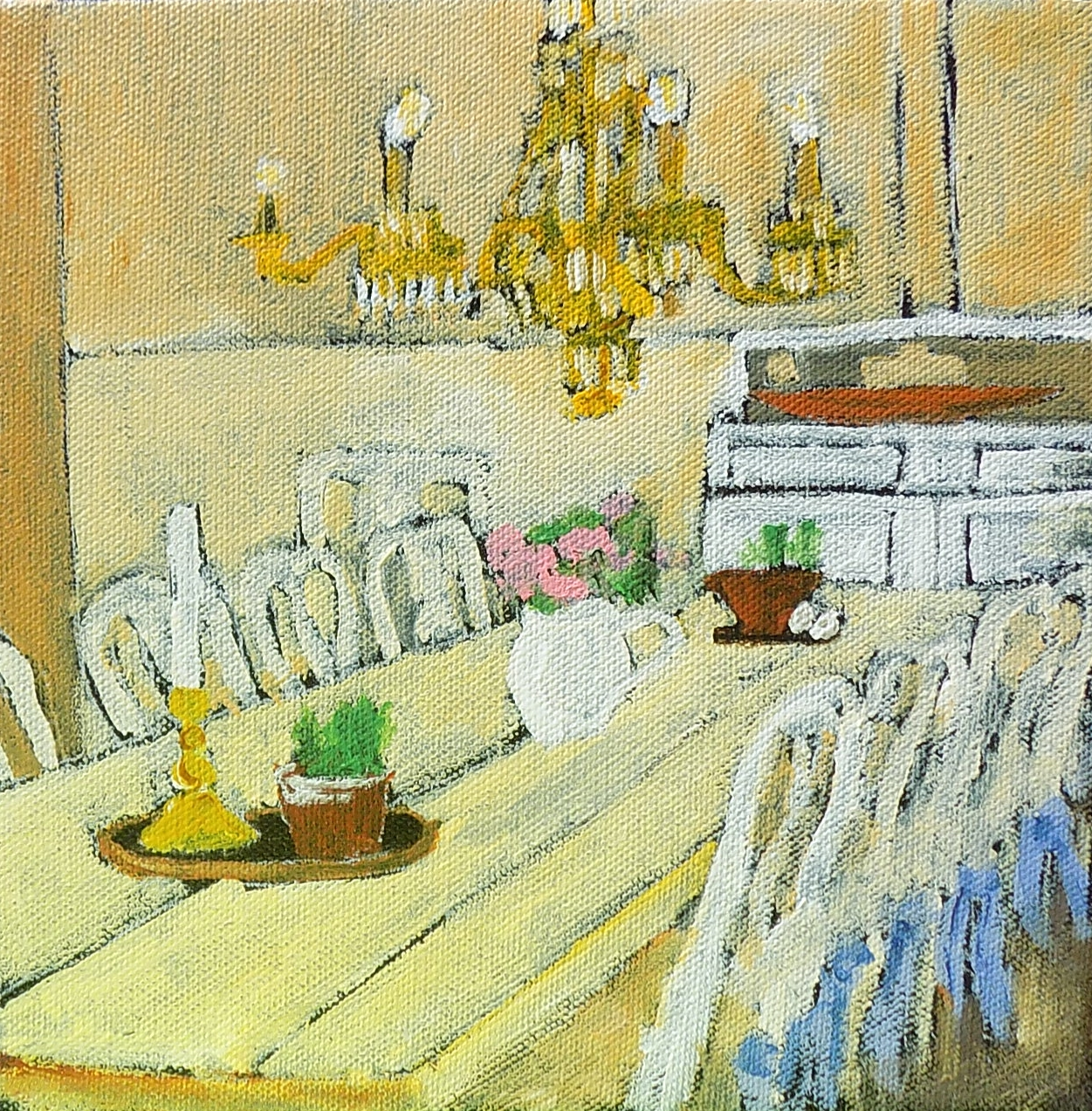 Yellow Farm Table