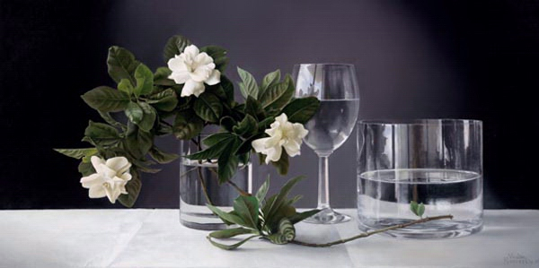 Gardenias with Glass Vase