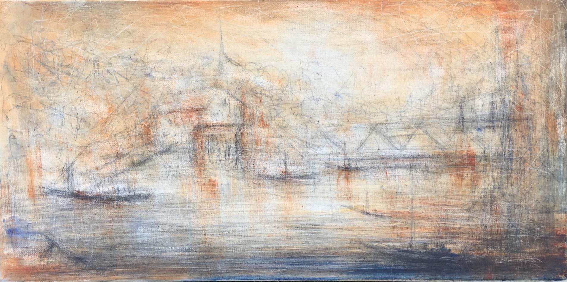 Portsmouth Twilight, View Towards Memorial Bridge, Sepia - unfinished