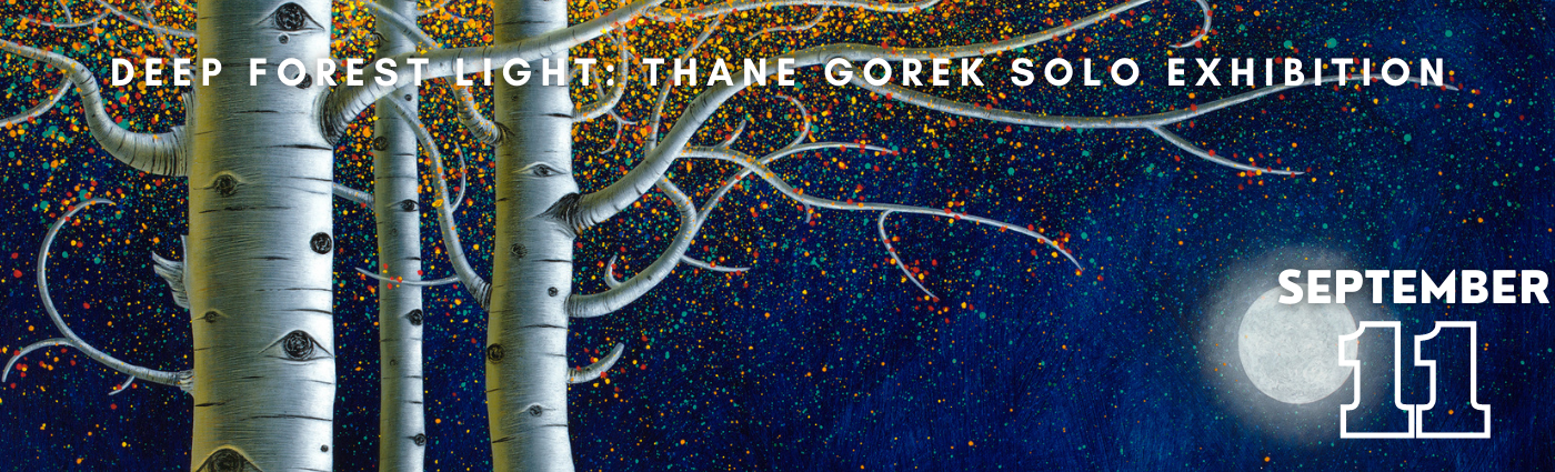 A promotional image of Thane Gorek's Solo Show depicting aspen trees and a bright moon