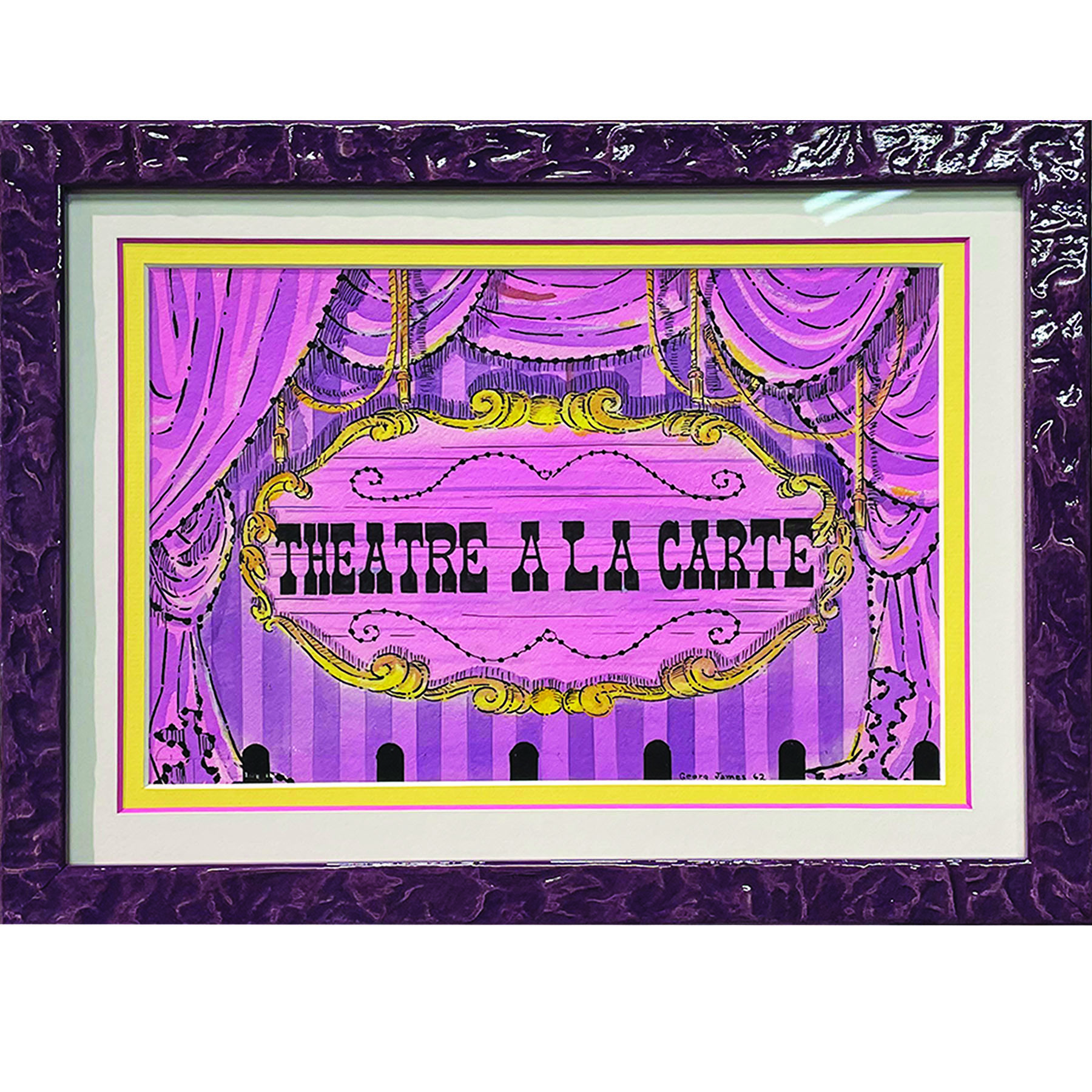 Purple and yellow artwork with textured purple custom frame