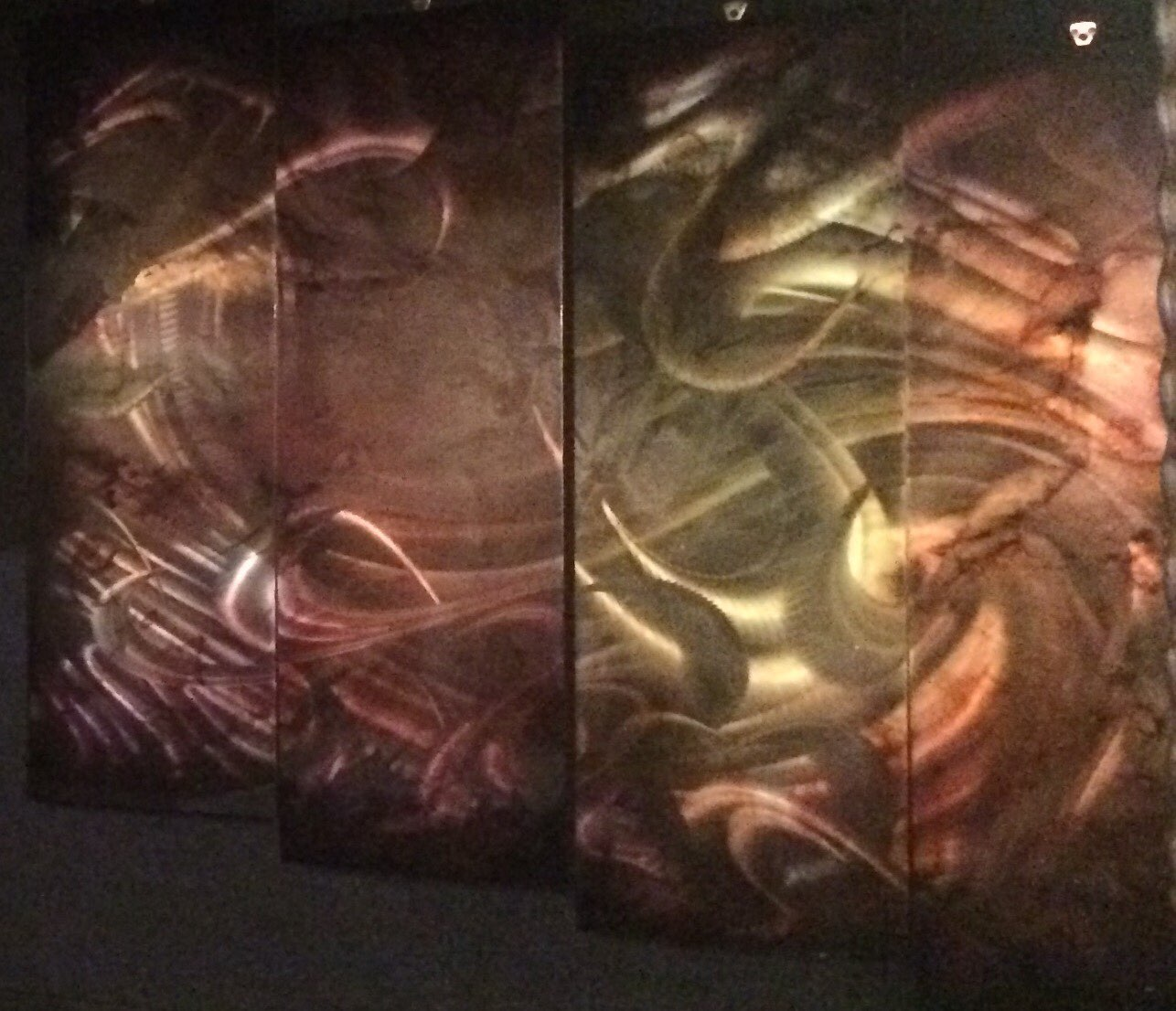Copper Brass Abstract 4 Panel
