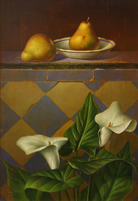 Still Life With White Lilies And Two Pears - DP-EB