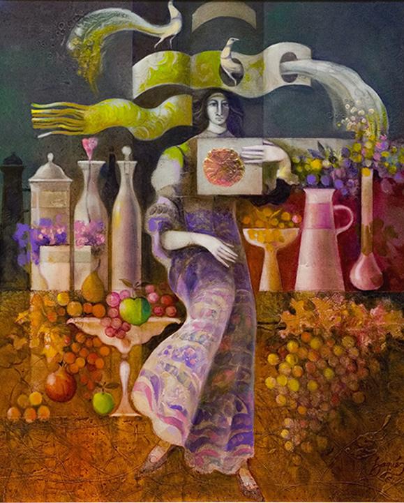 Dama entre ceramicas y frutas