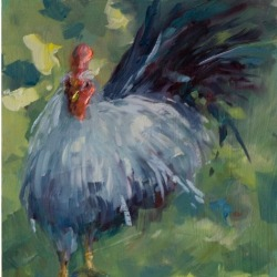 Belle and Charlette Chicken painting by Karen Hewitt Hagan