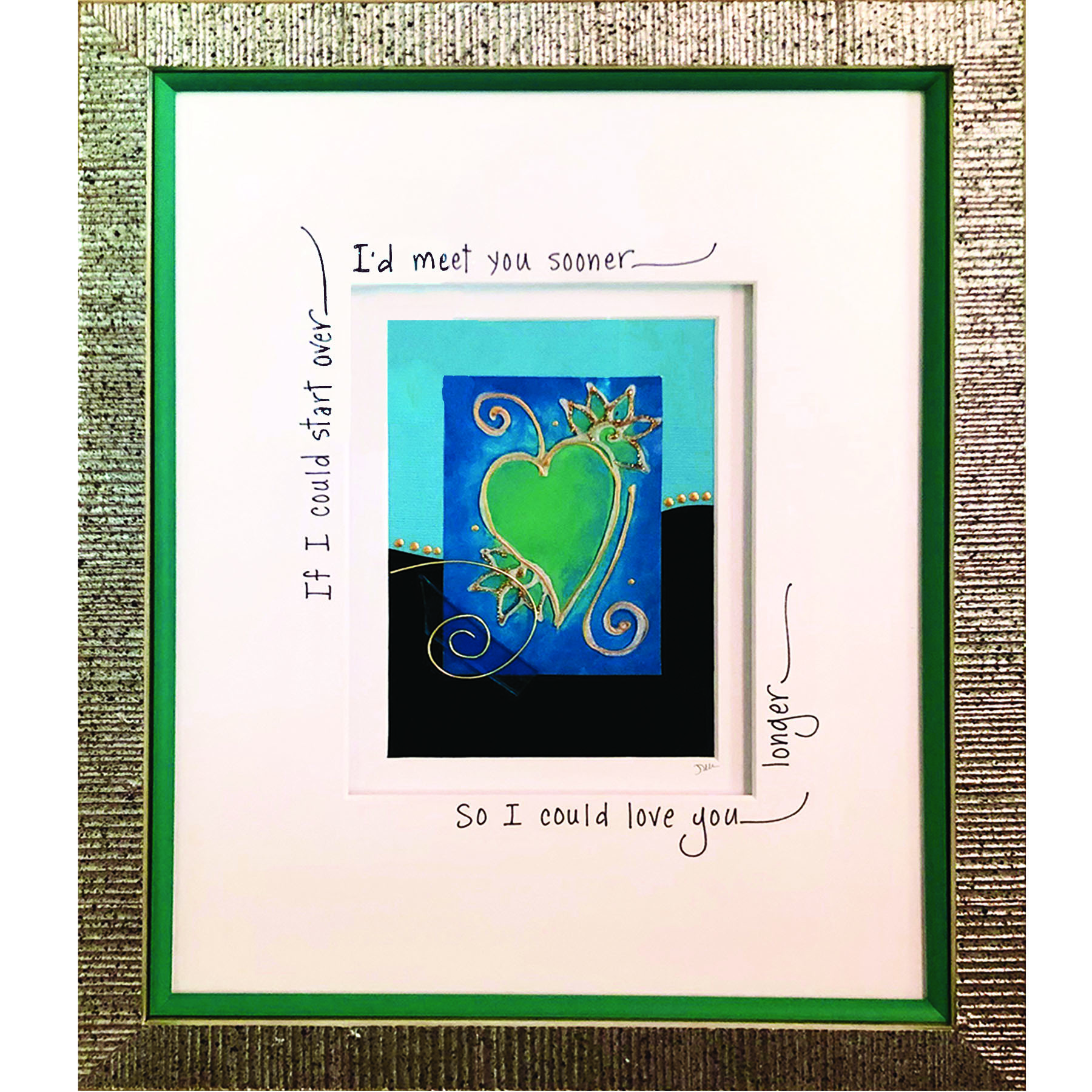 Teal artwork in textured silver frame with calligraphy on matte