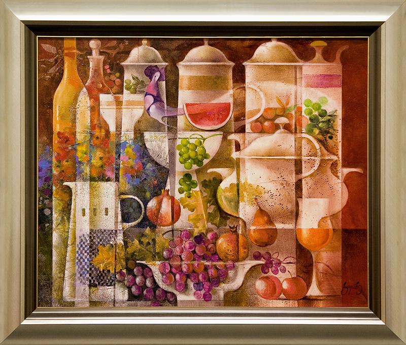 Ceramicas con pajaro, frutas y flores- DP