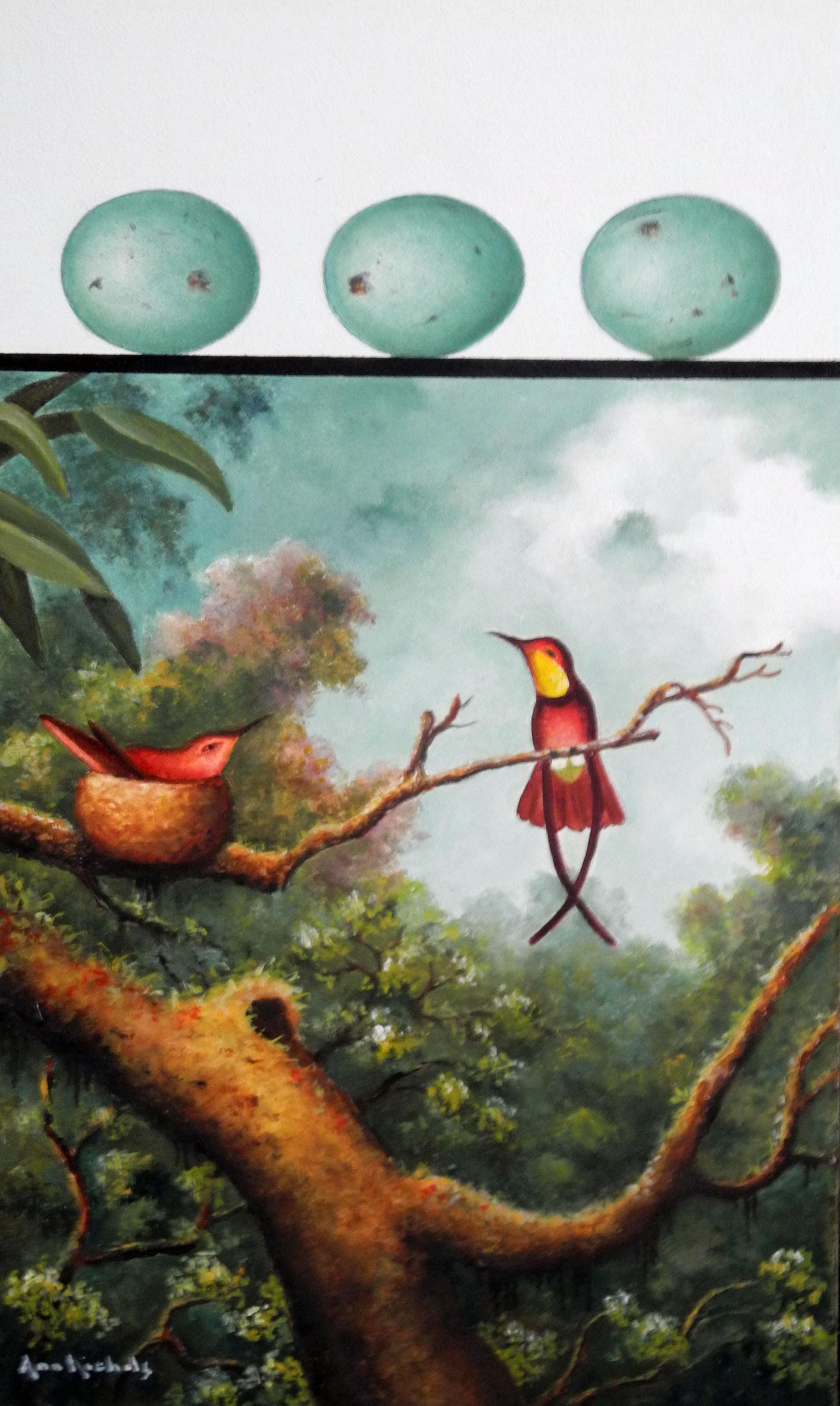 Hummingbirds with Tree Trunk