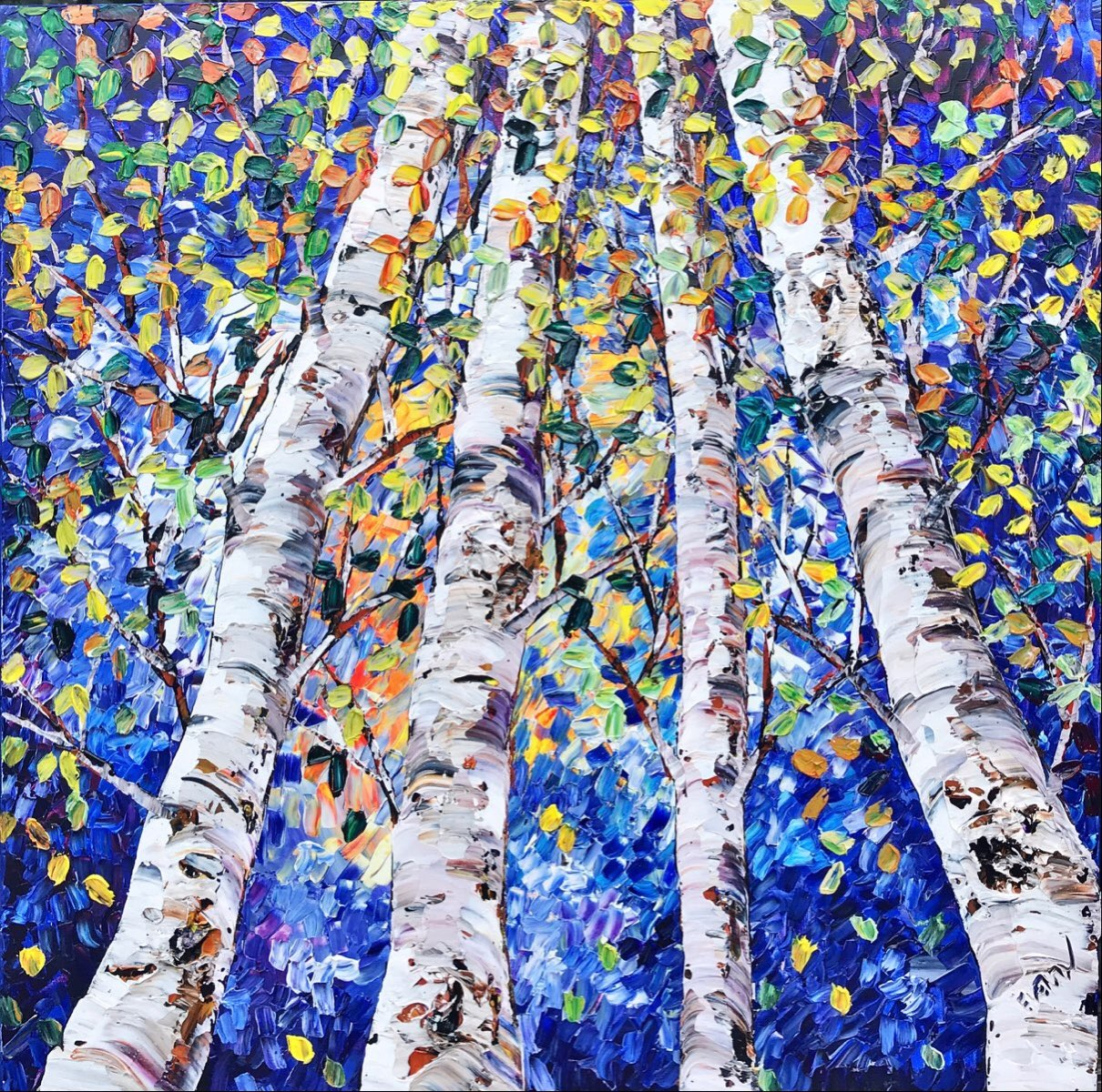 Birches In Blue