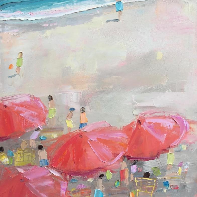 Red Umbrellas Yellow Beach Chair