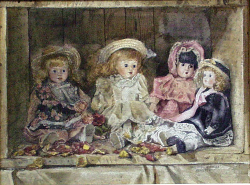 Still Life W/ Dolls Watercolor