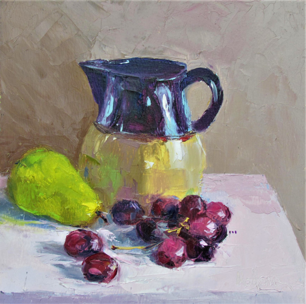 Pitcher, Pear and Grapes by Patti Mollema