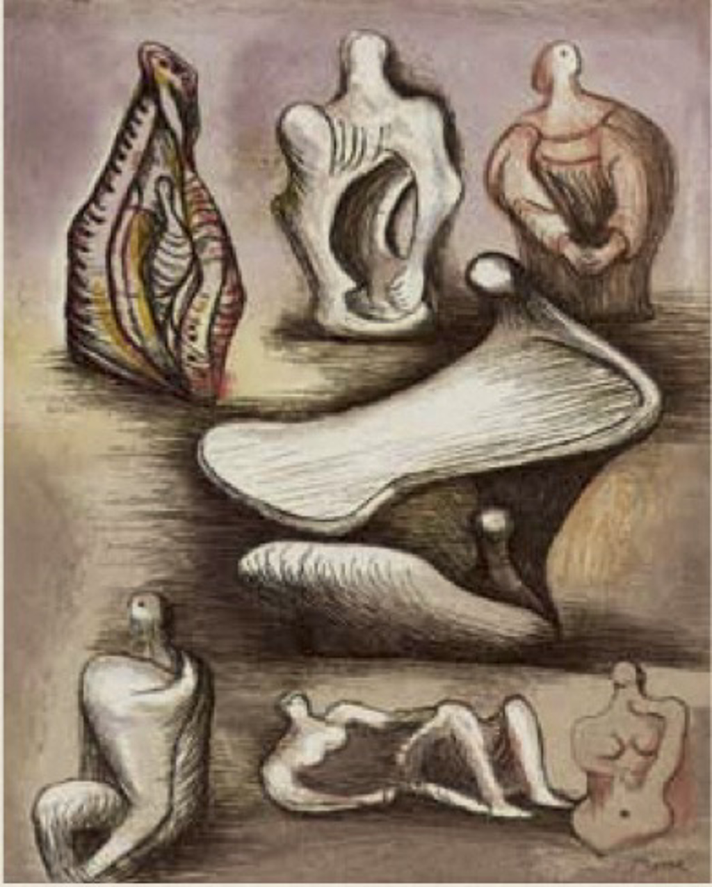 Seven Sculpture Ideas II by Henry Moore