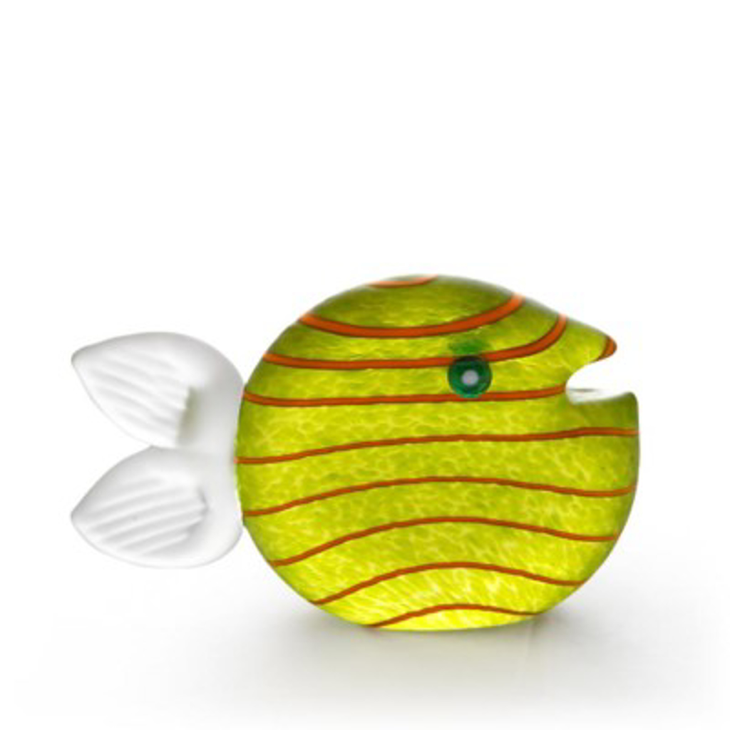 ST/ SNIPPY, fish, paperweight, lime green 24-03-32 by Borowski