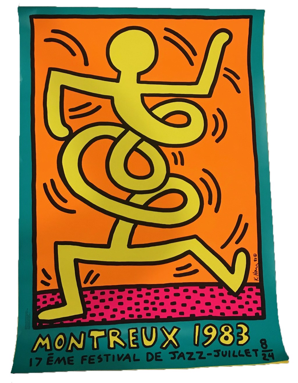 Montreux Festival De Jazz (Teal Background) by Keith Haring (1958 - 1990)