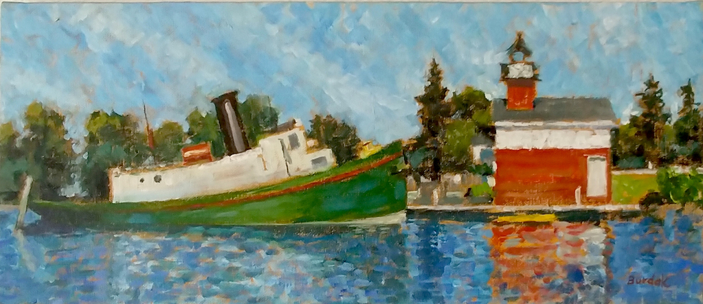 Red Lighthouse/Green Boat by Karl Burdak