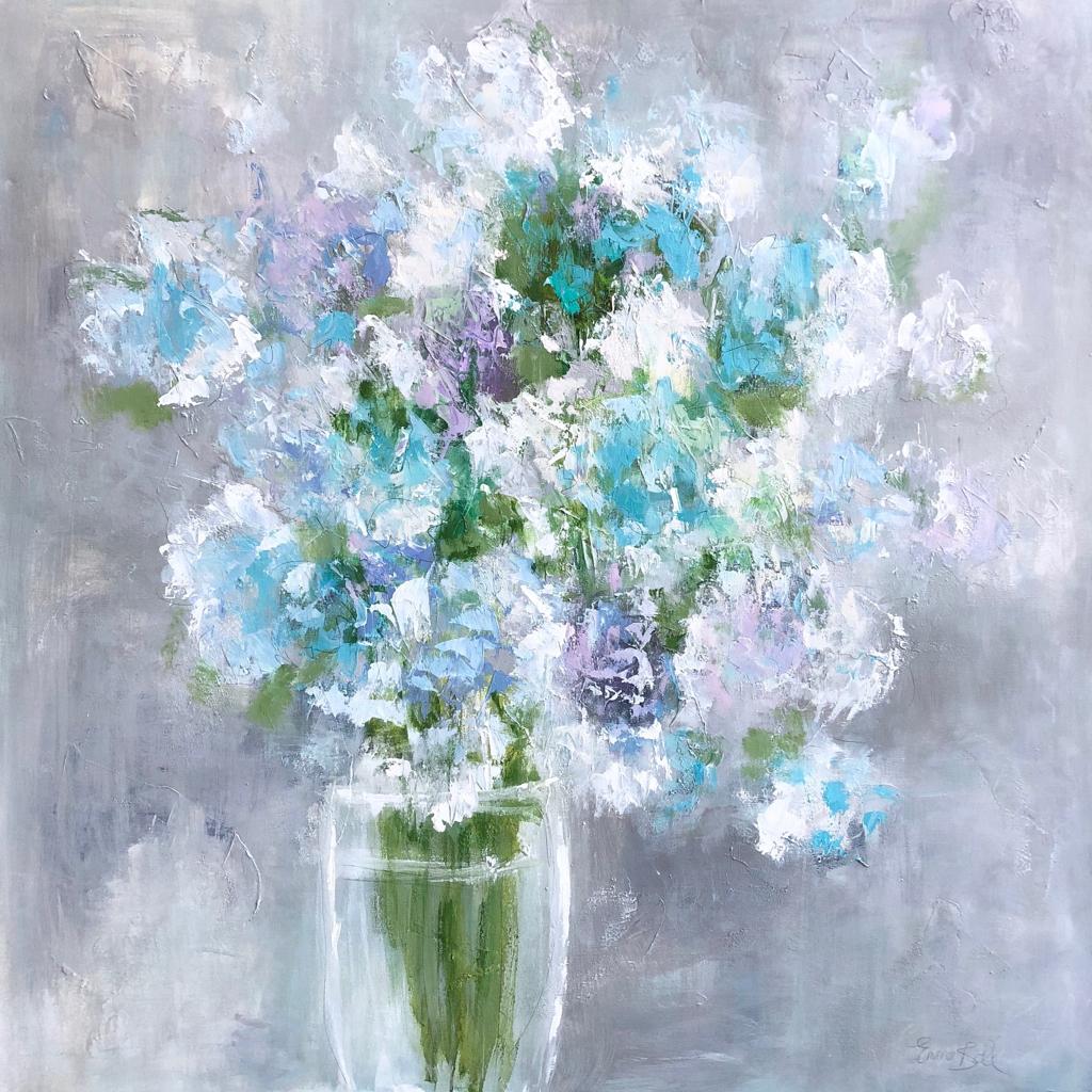 Aqua Blue Hydrangeas by Emma Bell