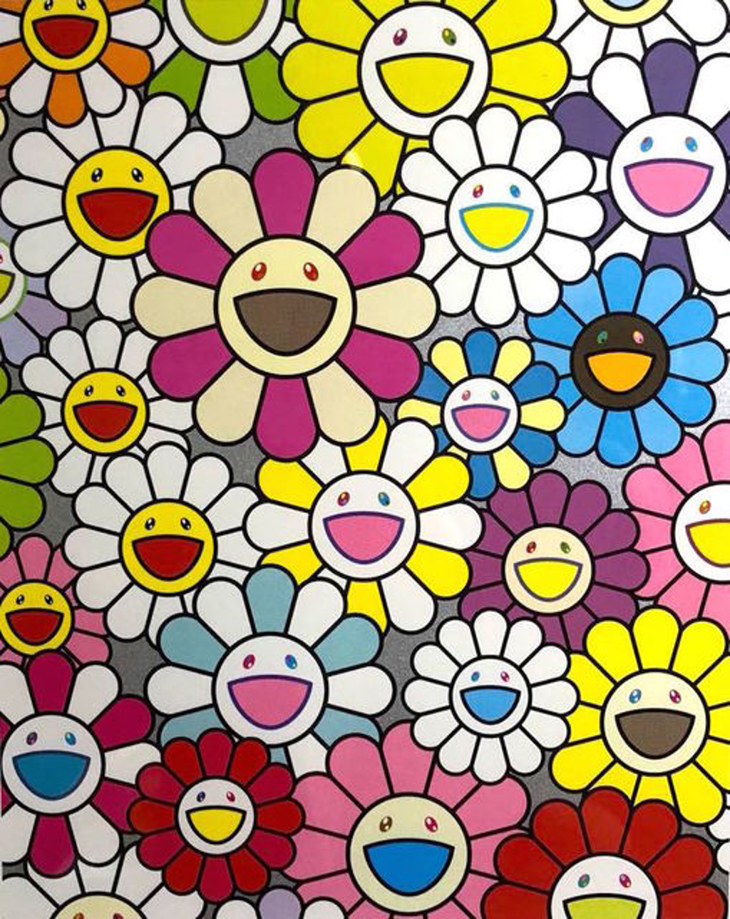 Small Flower Painting in Pink, Purple and Many Other Colors by Takashi Murakami (b. 1962)