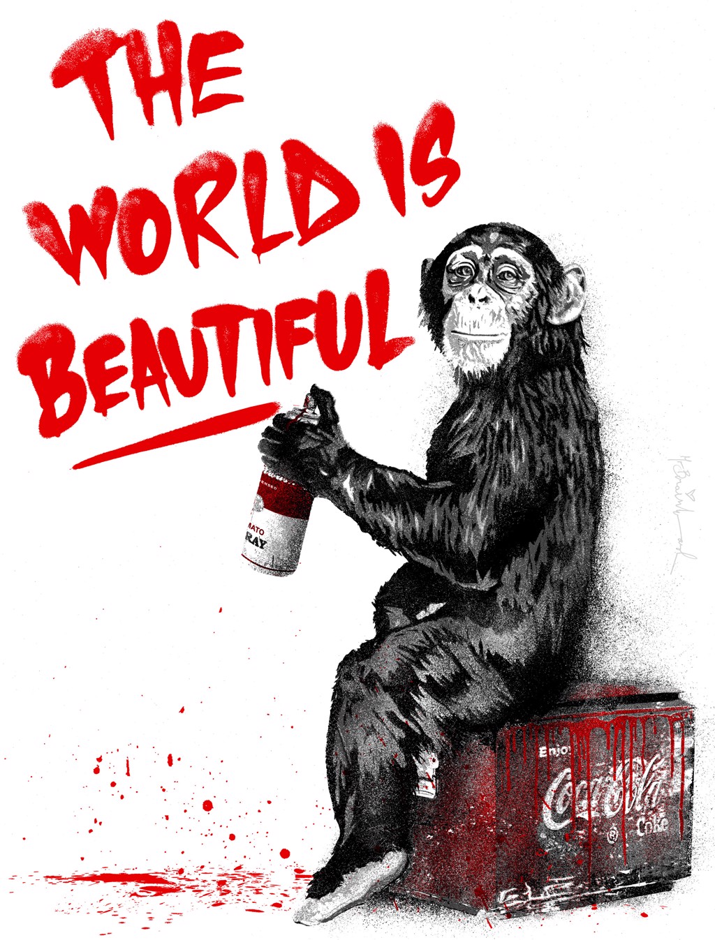 The World Is Beautiful - Red by Mr. Brainwash (b. 1966)