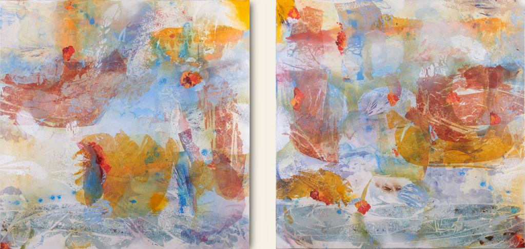 Water Barge with Onlookers (diptych) by Jennifer Blalack