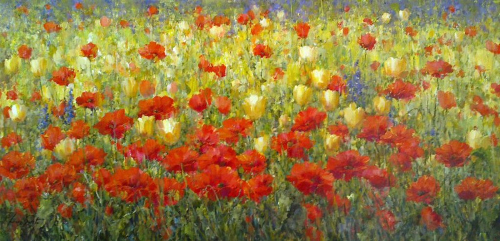 Red and Yellow Flower Garden by Lucia Sarto