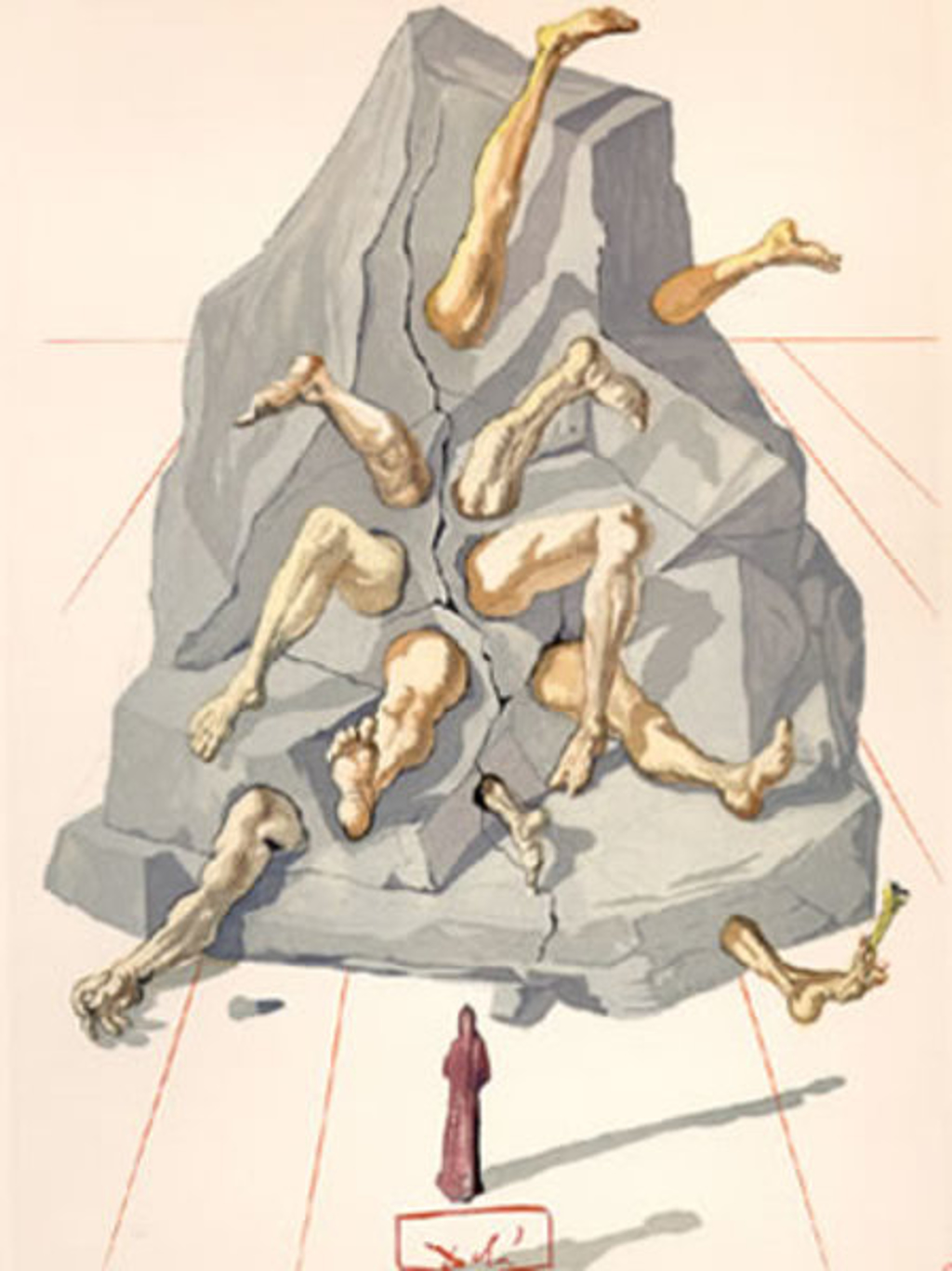 Inferno Canto 19: The Simonists from The Divine Comedy by Salvador Dali (1904 - 1989)