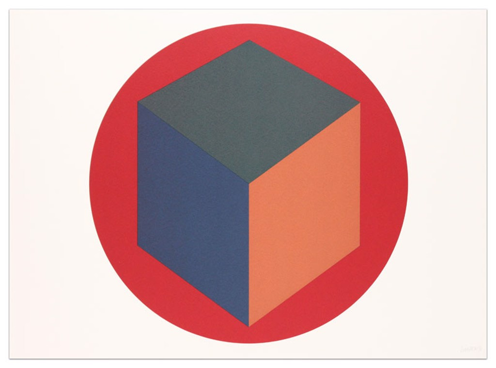 Centered Cube within a Red Circle by Sol LeWitt