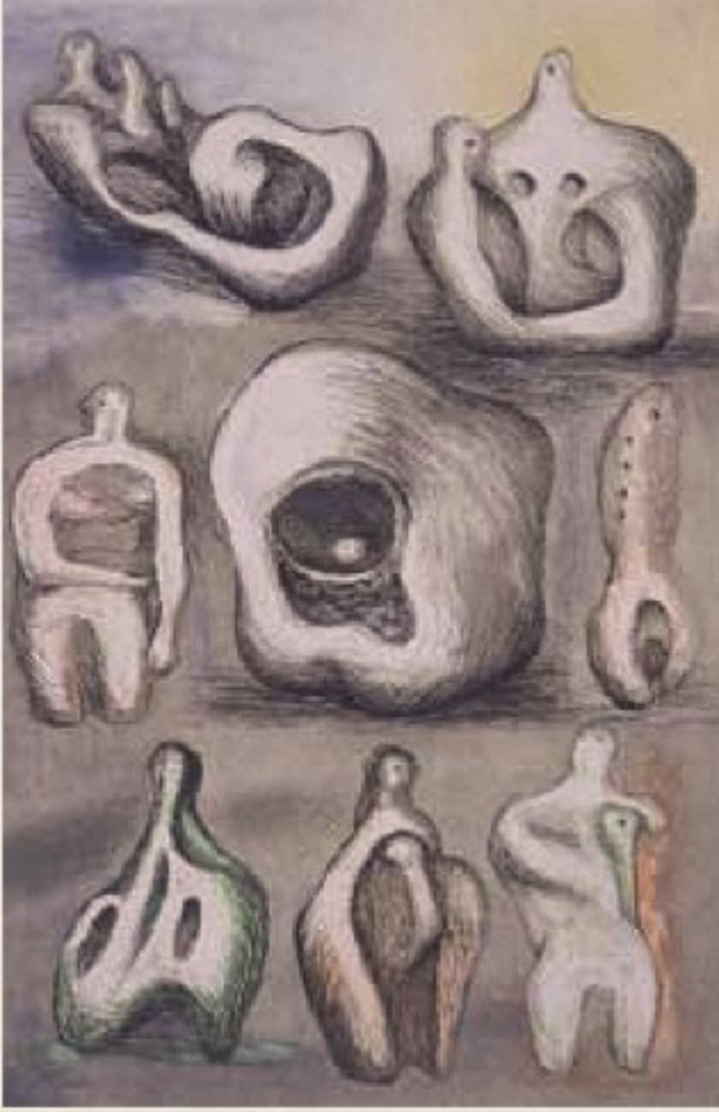 Eight Sculptural Studies by Henry Moore