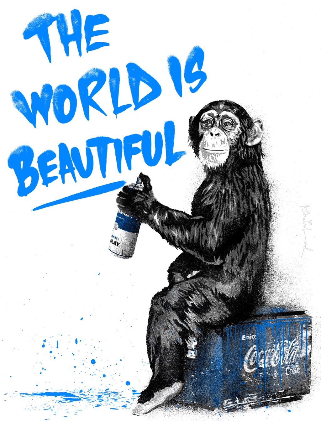 The World Is Beautiful - Blue by Mr. Brainwash (b. 1966)