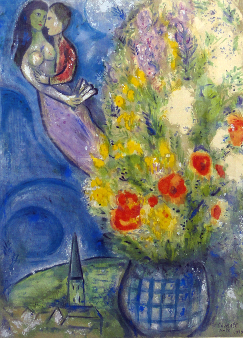 Red Poppies by Marc Chagall (1887 - 1985)
