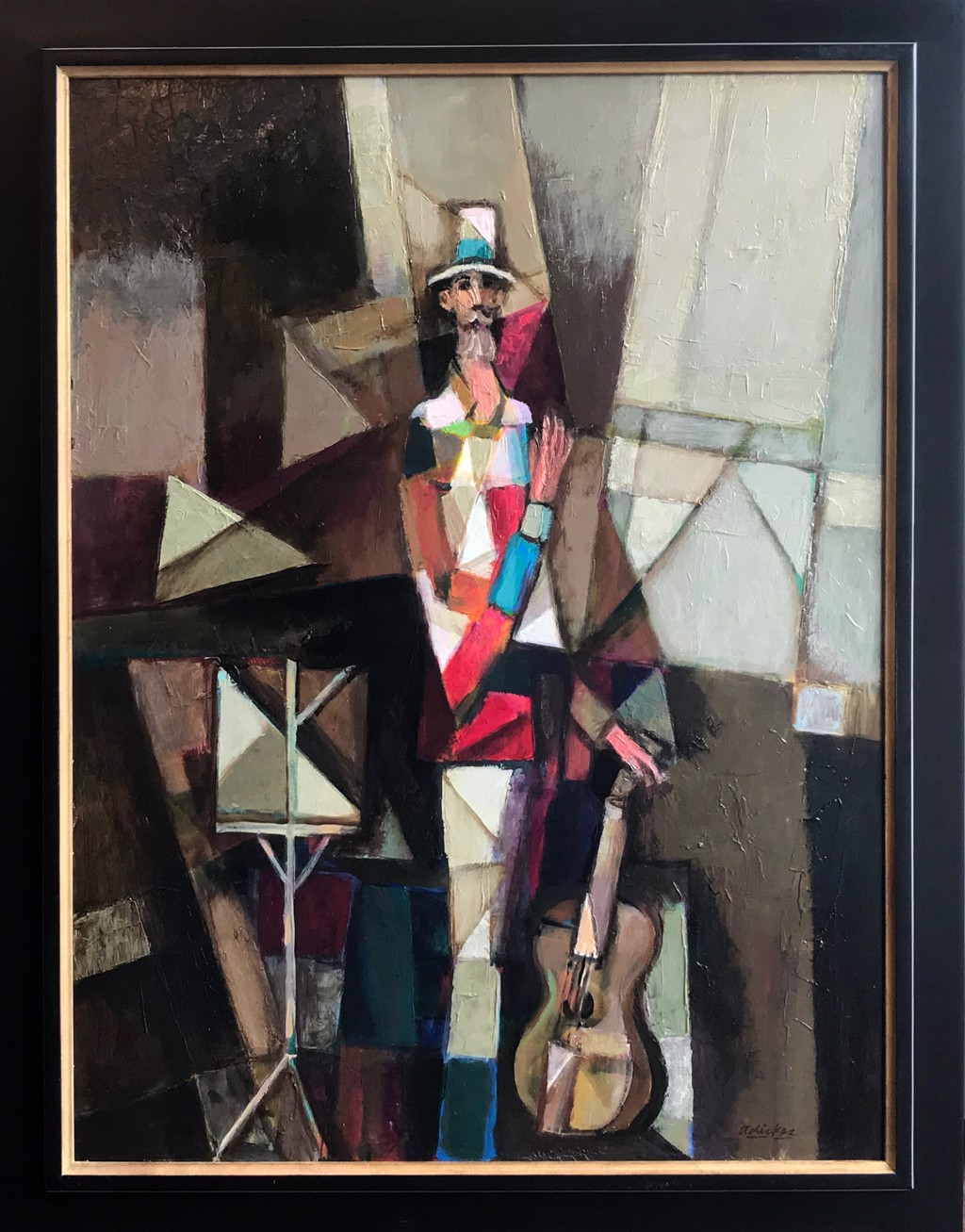 Cubism Man With Guitar  by David Adickes