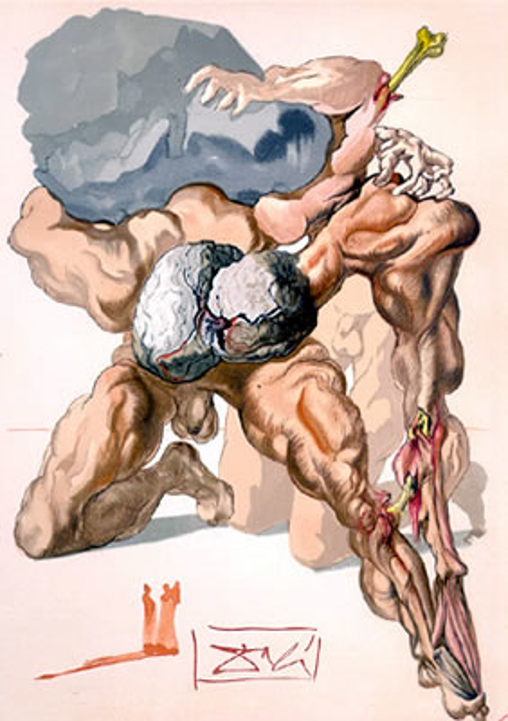 Inferno Canto 7: The Avaricious and the Prodigal from The Divine Comedy by Salvador Dali (1904 - 1989)