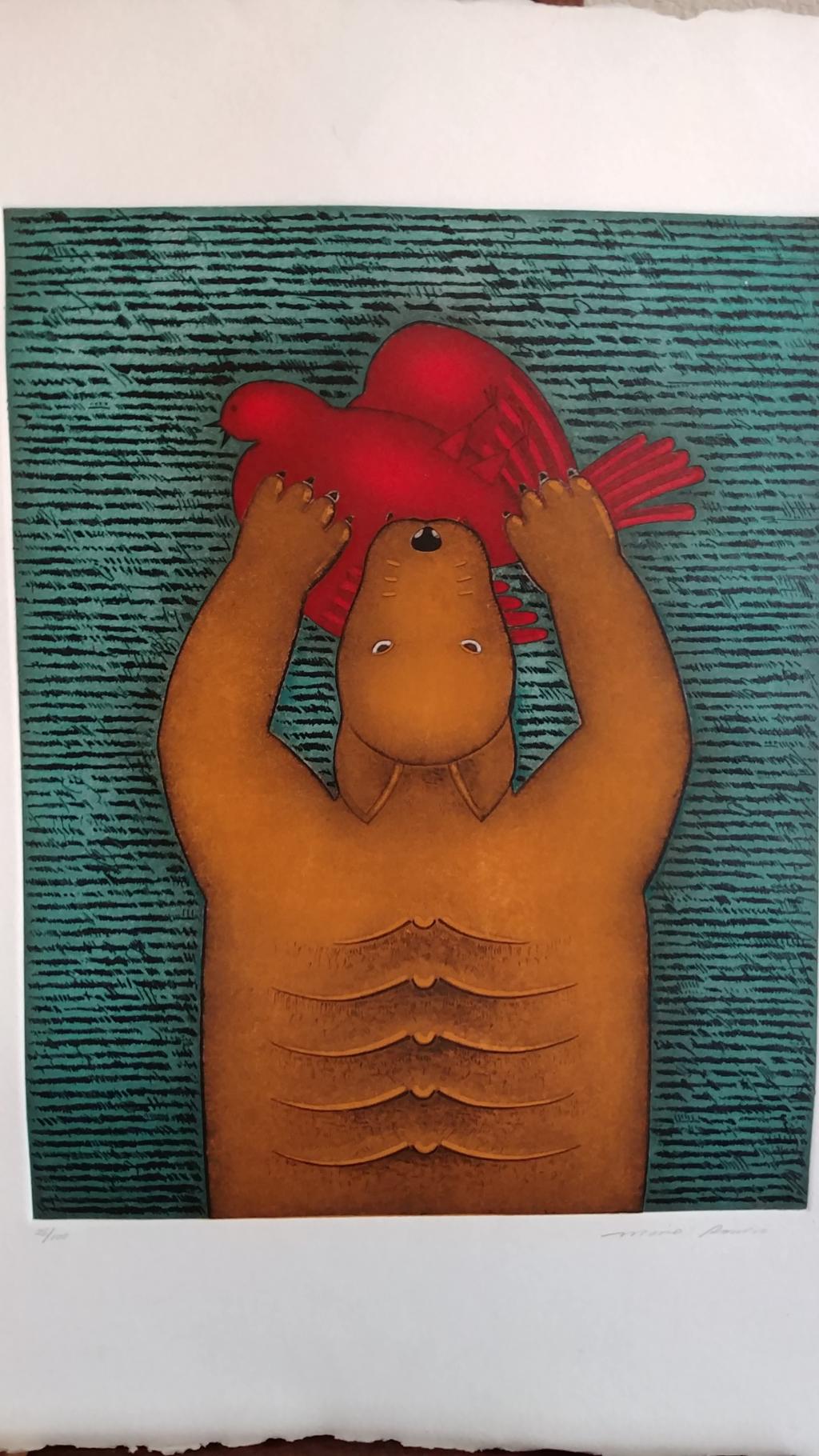 Figure with Bird 2 by Mario Romero