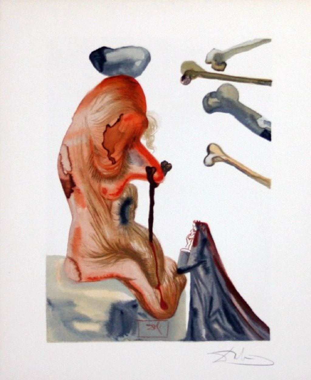 Inferno Canto 18: The Fraudulent Ones from The Divine Comedy by Salvador Dali (1904 - 1989)