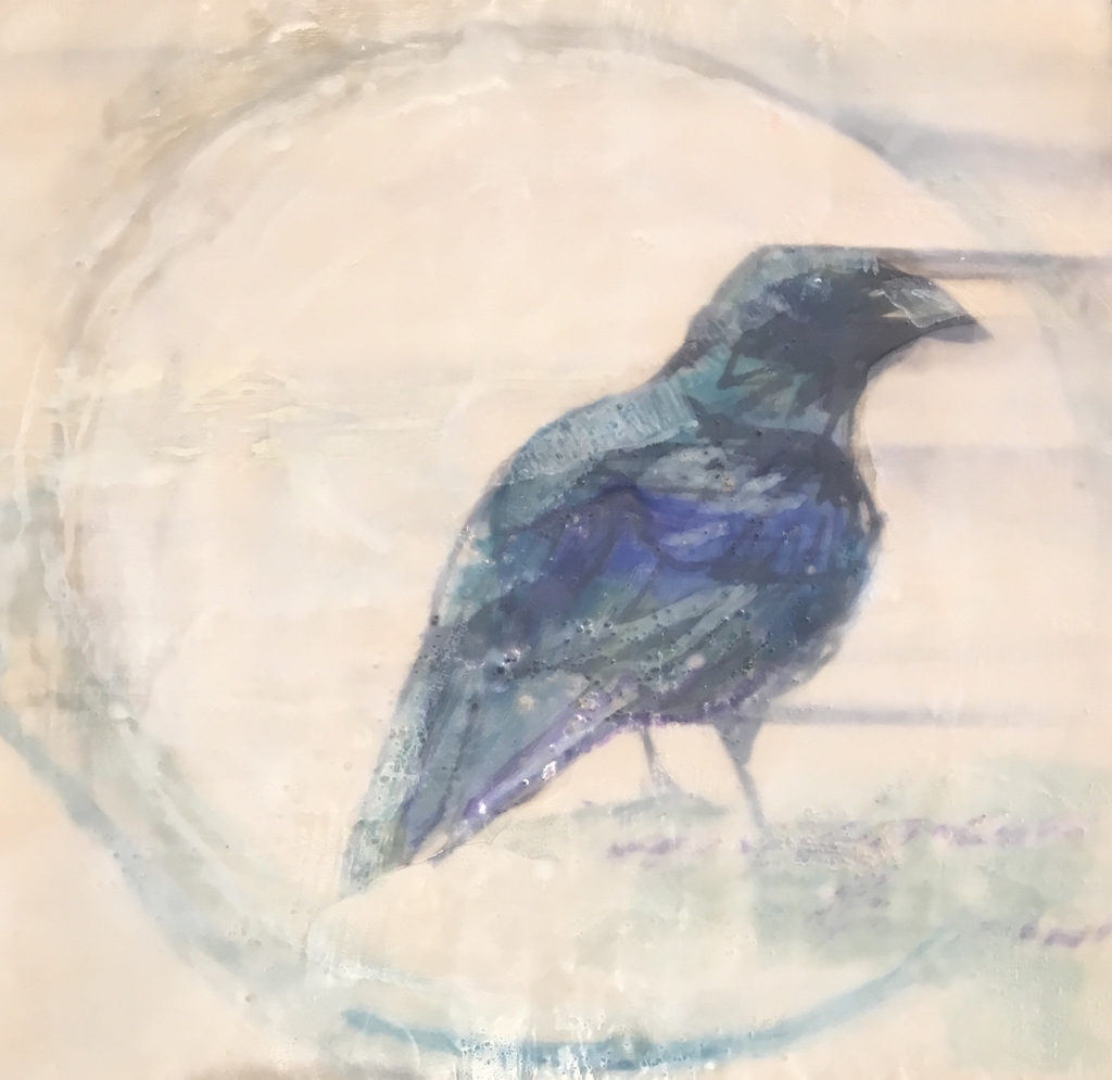 Crow on Dinner Plate by Shelley Fleishman