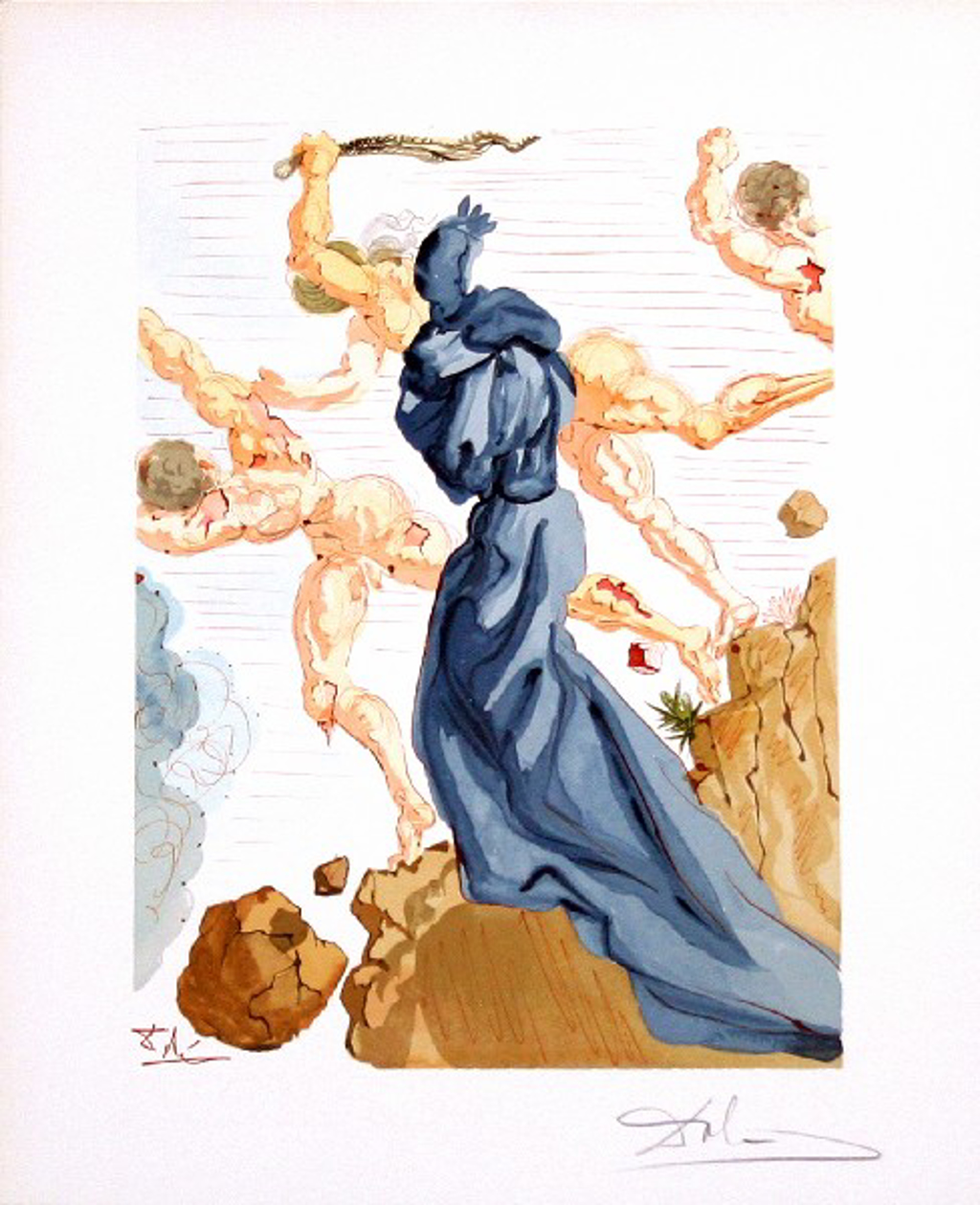 Inferno Canto 15: The Hard Margins from The Divine Comedy by Salvador Dali (1904 - 1989)
