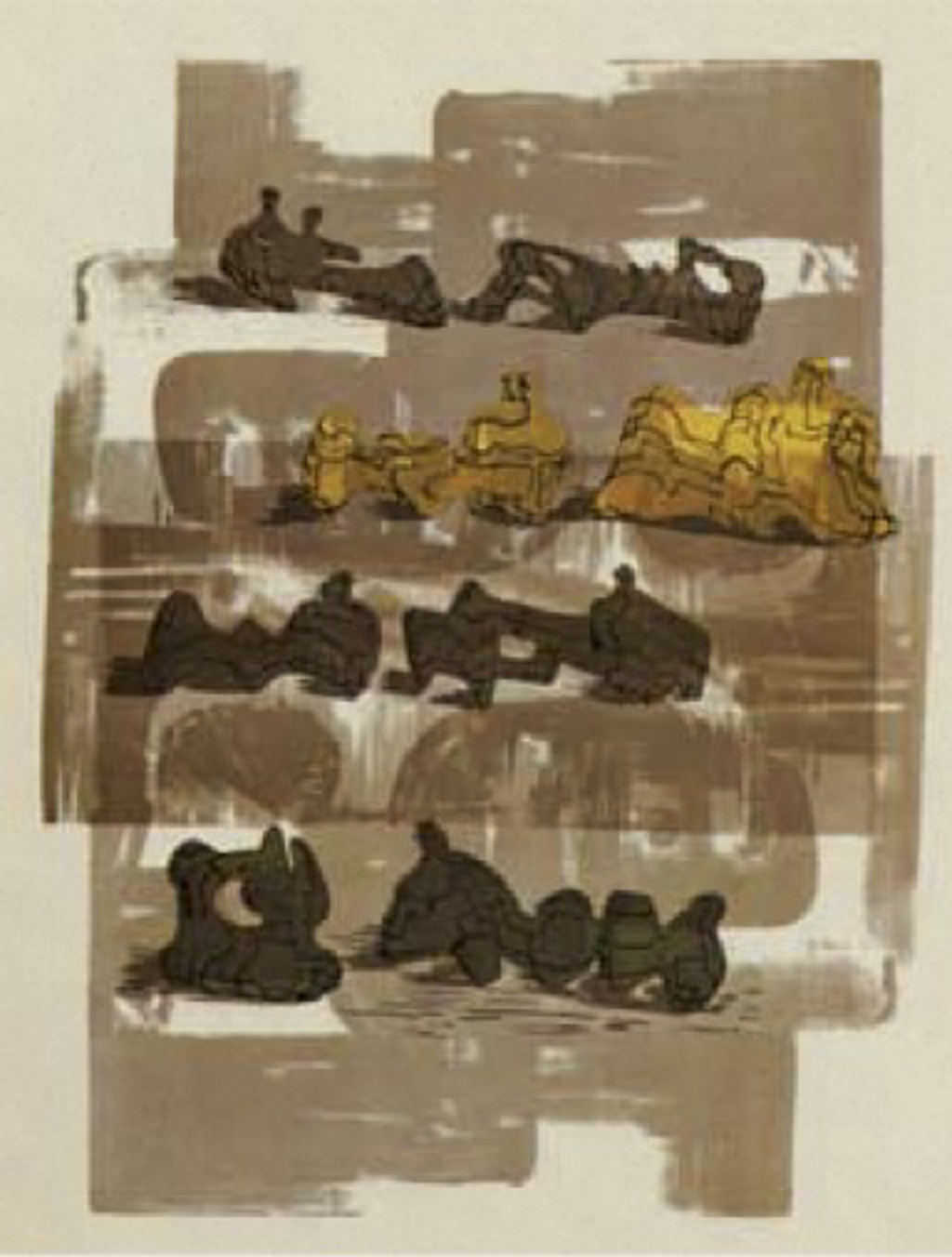 Eight Reclining Figures with Architectural Background by Henry Moore
