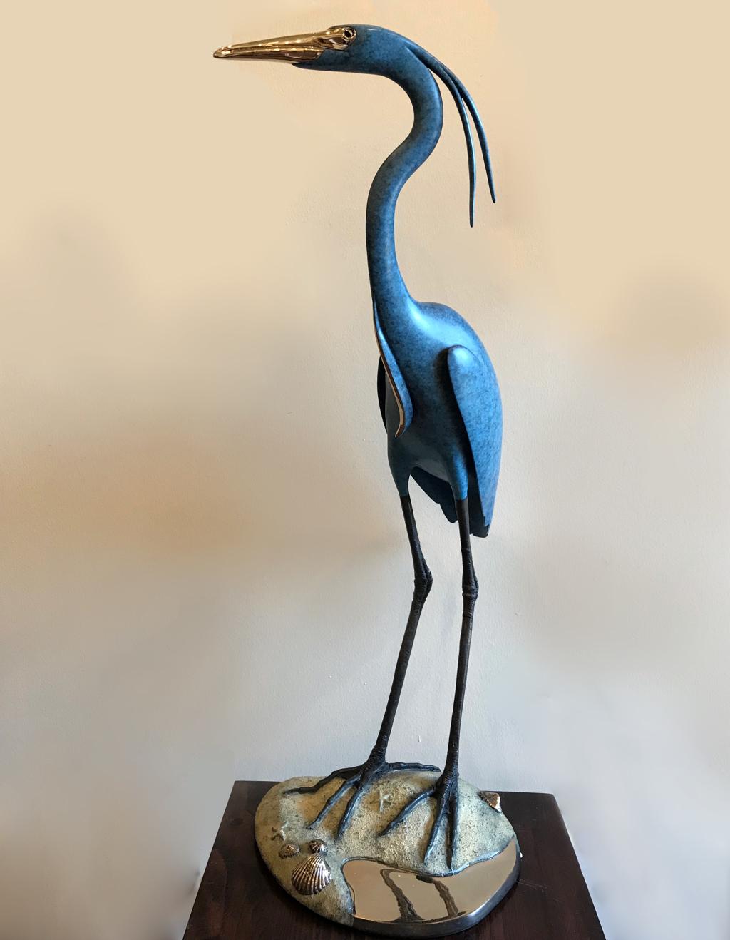 Blue Heron on Sand Bar by Brian Arthur
